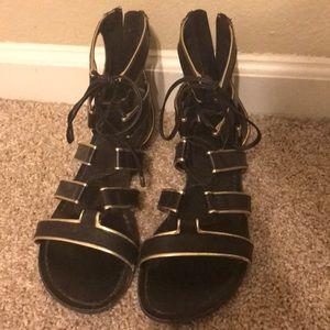 Bebe Black flat sandals